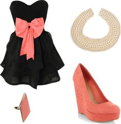 coral and black, created by reganstegall on Polyvore