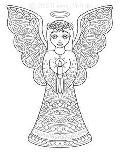 Christmas Coloring Book Angel by Thaneeya McArdle Angel Coloring Pages, Easter Coloring Pages, Colouring Pics, Printable Coloring Pages, Coloring Pages For Kids, Coloring Books, Colorful Drawings, Colorful Pictures, Christmas Angels