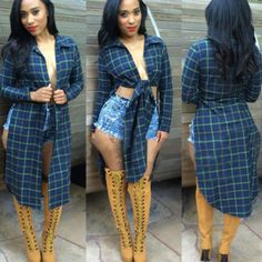 Sexy-Women-Casual-Long-Sleeve-Loose-Plaid-Checked-Tops-Blouse-Shirt