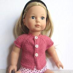 Habit de poupée : gilet rose framboise, manches courtes, poupée précious day 46 cm, gotz