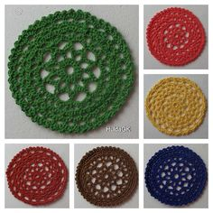 This beautiful Coaster, is made from cotton 10.5 cm. in diameter each 22 gr. Mixed color. Dark Blue,Yellow,Brown, Rust Red,Green,Salmon. Wash in luke warm water. Thank you for visiting my shop! I add new items regularly, so dont be a stranger :) Pk.71.