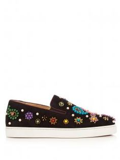 Shop Christian Louboutin Boat Candy Embellished Suede Trainers at Modalist Slip On Trainers, Slip On Sneakers, Shoes Sneakers, Studs And Spikes, Types Of Shoes, Beautiful Shoes, Black Suede, Loafer Flats, Zapatos