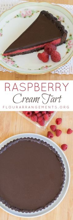 Tucked between rich chocolate ganache and a chocolate shortbread crust, creamy raspberry filling adds bold flavor to this Raspberry Cream Tart. | Flour Arrangements