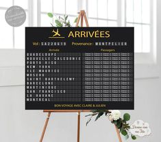 """Plan de table Mariage personnalisé """"Panneau affichage aéroport – Voyage"""" Customizable table plan in the form of an airport arrivals sign for your wedding trip theme for a unique and original decoration. Several sizes and print support available. Elegant Wedding Themes, Unique Weddings, Travel Bridal Showers, Debut Ideas, Bridal Shower Decorations, Travel Themes, Table Plans, Personalized Wedding, Wedding Table"""