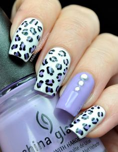 White, lavender black leopard manicure with solid lavender rhinestones accent nail Get Nails, Love Nails, Pretty Nails, Hair And Nails, Leopard Nail Designs, Leopard Print Nails, Nail Art Designs, Crazy Nails, Trendy Nail Art