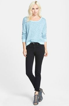 Splendid Space Dye Pullover & rag & bone/JEAN High Rise Skinny Stretch Jeans  available at #Nordstrom