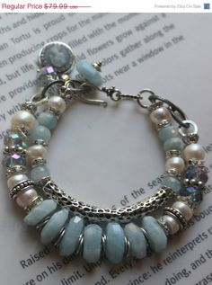 chunky bracelet aquamarine bracelet bangle by soulfuledges on Etsy- i like the pale blue w/ pearls kak Boho Jewelry, Gemstone Jewelry, Beaded Jewelry, Jewelery, Jewelry Accessories, Jewelry Design, Gold Jewellery, Silver Jewelry, Gemstone Bracelets