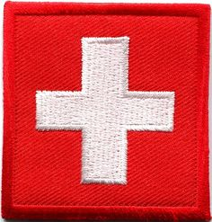 Flag of Switzerland Swiss europe embroidered applique iron-on patch S-337 new