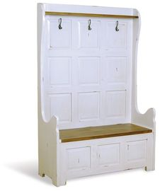 Shabby Chic Monks Bench With Storage Seat/ Coat Hooks. Large - Dining Room Furniture | Richard James Interiors