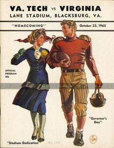 1965.10.23. University of Virginia (Cavaliers) at Virginia Tech (Hokies). VT Head Coach: Jerry Claiborne. Lane Stadium, Blacksburg, VA. Final score: Virginia Tech 22, UVA 14.