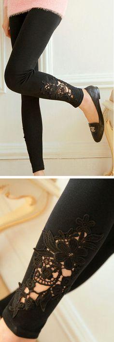 Black Leggings with Floral Cutout Lace Applique // SO cute!