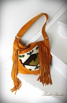 Southwestern kilim leather suede aztec navajo fringe by Caramelka, $145.00