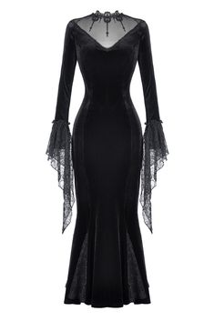 Chic Dark In Love Long Gothic Dress Black Velvet Lace Vampire Witch Morticia Funeral women's winter dresses from top store Black Gothic Dress, Black Witch Dress, Black Velvet Dress Long, Gothic Victorian Dresses, Gothic Gowns, Dress Black, Dark Fashion, Gothic Fashion, Latex Fashion