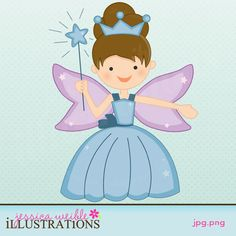 Fairy Tale Princess Fairy - $1 Clipart Singles - JW Illustrations: Clipart, Graphic Design, Cute Clip Art