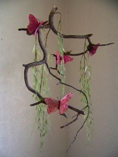 Pink Butterfly Mobile - tree branch, green weeping willow leaves, moss by WoodsynThings on Etsy, $48.00