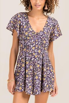 Isabelle Front Button Ditsy Floral Romper