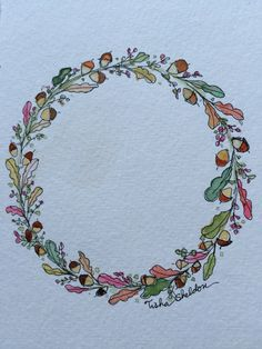 "Pen and Ink and a Watercolor by Tisha Sheldon. Autumn Wreath 4x6 ""Fluid"" Watercolor Paper."