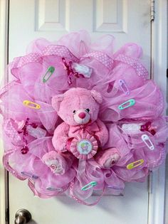 Deco Mesh Baby Girl Wreath by DebbiesDoorDelights on Etsy, $65.00