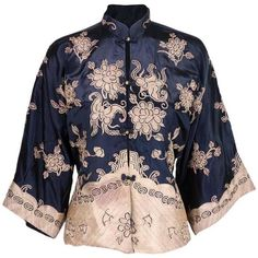 Preowned 1920s Chinese Silk Jacket ($950) ❤ liked on Polyvore featuring outerwear, jackets, multiple, embroidered jackets, mandarin collar jacket, metallic jacket, silk embroidered jacket and silk jacket
