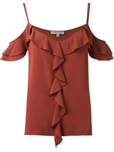 Compre Carina Duek Blusa com babados em Carina Duek from the world's best independent boutiques at farfetch.com. Compre em 400 boutiques em um único endereço. Love Fashion, Fashion Outfits, Womens Fashion, Boutiques, Fashion Silhouette, Western Dresses, Corsage, Lace Tops, Blouses For Women