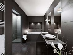 Black and White Bathrooms Which Show Their Simplicity: Excellent Black Bathroom Design Using Modern Touch And Concrete Tile Flooring Above Bathroom Vanity With White Washbasin Near White Bathtub Under Small Pendant Lighting ~ workdon.com Bathroom Design Inspiration