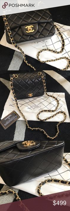 Classic flap cc mini crossbody bag purse Super cute! 17cm mini crossbody bag with gold hardware and chains. New and never been used! Real leather. Top quality insp. bag 1:1 quality. ❌ P r i c e  r e f l e c t s  a u t h e n t i c i t y !!!❌ Please don't ask the obvious. ❌ CHANEL Bags Mini Bags
