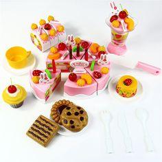 75 unids Pastel de Cumpleaños DIY Modelo 3 + Niños de Los Niños Temprano Educativo del Juguete Clásico Juego de Imaginación Alimento de la Cocina De Juguete De Plástico