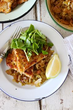 Lemon and Thyme Pork Schnitzel with Braised Cabbage