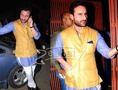 Saif Ali Khan in mustard colour Nehru Jacket with blue kurta and white Semi-Brijish .