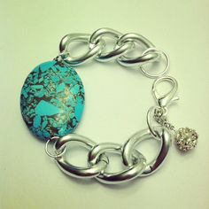 Silver chunky chain bracelet with turquoise statement bead by McIntoshJewelry