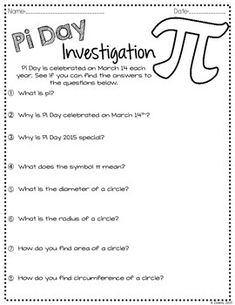 Worksheets Pi Day Worksheets printable pi puzzle for day technology kids and investigation activity freebie