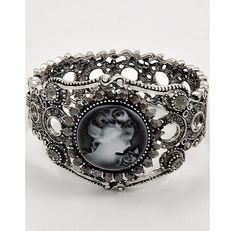 New Gray white Resin Cameo Clamper Bracelet RHINESTONES romantic jewelry cuff  #SYLink #cameos #jewelry