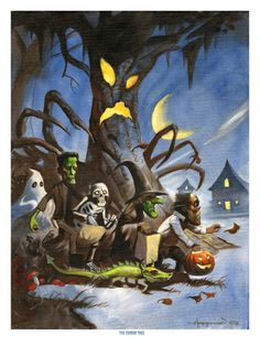 TERROR TREE Spooky Haunted Halloween Trick or Treat Witch Print Mike Von Hoffman via Etsy