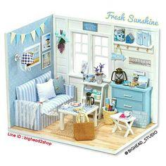 Miniature room♡ ♡ By Bighead Studio Wooden Dolls House Furniture, Miniature Furniture, Dollhouse Furniture, Home Furniture, Furniture Ideas, Dollhouse Toys, Wooden Dollhouse, Miniature Dollhouse, Kit Homes