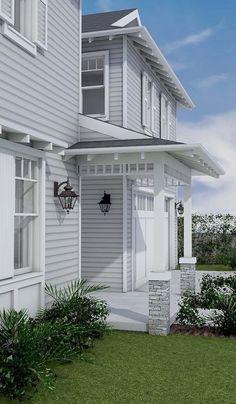 Solutions to Grey Exterior House Colors - sitihome Die Hamptons, Hamptons Style Homes, Hamptons Beach Houses, Exterior Gris, Exterior Design, Stucco Exterior, Exterior Cladding, Modern Exterior, House Cladding