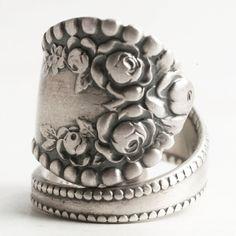 Rose Flower Ring Spoon Ring Sterling Silver Vintage