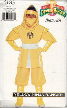 Yellow Ninja Power Ranger 1995 Butterick by AdeleBeeAnnPatterns, $14.00