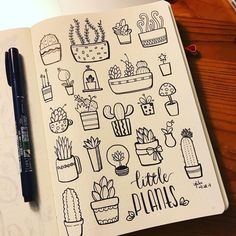 """7,585 Likes, 28 Comments - (@plant.doodles) on Instagram: """"Lovely monochrome doodles by @yiyidada #plantdoodles"""""""