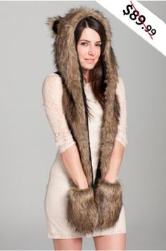 37d26c03461 Amazon.com  Faux FUR Animal Hats Hoods Skunk Ski with Mittens Unisex  Gloves  Clothing