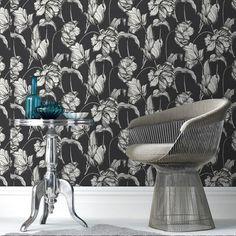 Harem Tulips Wallpaper by Laurence Llewelyn-Bowen - Black Flower Wall Coverings by Graham  Brown