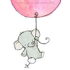 Nursery Art -- Flying High Girlie Pink Balloon 5x7 -- Art Print. $10.00, via Etsy.
