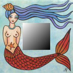 Miroir sirène peint à la main - hand painted mermaid mirror by Paula Ferrari