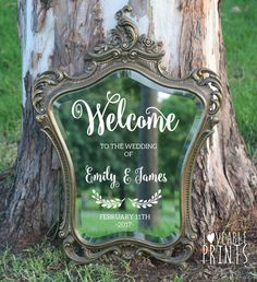Vintage Mirror | Welcome Sign | Antique Mirror | Custom Sign | Rustic | Signage | Ornate Mirror | Engagement Sign | Custom Bar Menu | HIRE by LoveablePrintsStore on Etsy