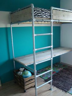 tinyhousedarling: sweetestesthome: Loft bed and desk made with Kee Klamp fittings and pipe. Elenoa If you hung a closet rod below the bed (and if it was a queen sized mattress) you could create a walk in closet with a lot of storage.