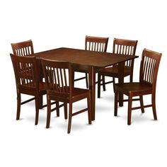 7-piece Small Dining Table and 6 Kitchen Chairs (Wood seat), Brown, Size 7-Piece Sets