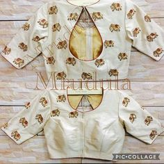 Elephant motif embroidery on white saree blouse Saree Blouse Neck Designs, Simple Blouse Designs, Stylish Blouse Design, Dress Neck Designs, Bollywood, Designer Blouse Patterns, Blouse Styles, Fashion Design, Indian Blouse
