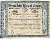 A Very Scarce Western Union Telegraph Company Stock Signed By Jeptha Wade As President