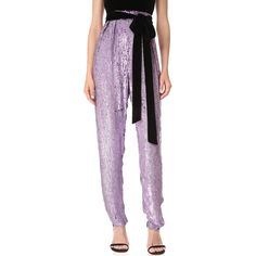 Monique Lhuillier High Waisted Cropped Pants ($2,420) ❤ liked on Polyvore featuring pants, capris, lilac, loose fitted pants, loose fitting pants, high-waisted pants, high waisted loose pants and sequined pants