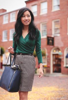 "ExtraPetite.com - ""a little green in autumn: ivy wrap top and herringbone skirt""  - emerald green, buttoned skirt, zippered tote bag"