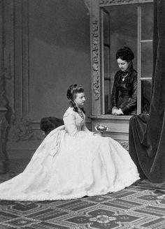 Princess Amalie of Saxe-Coburg and Gotha (1848 – 1894)  and her sister Princess Clotilde of Saxe-Coburg and Gotha (1846–1927).